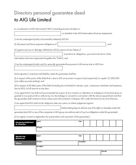 personal guarantee form personal guarantee form sle forms