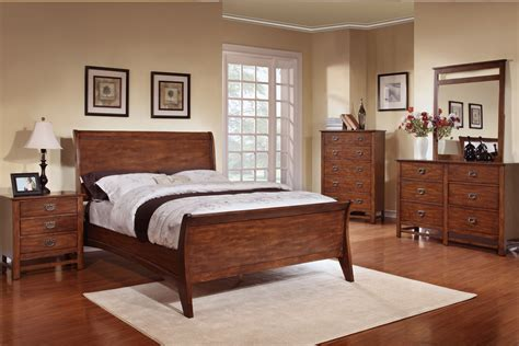 sleigh platform complete king bedroom set in walnut