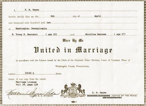 Wedding License by Tony Nicoline Bongiovanni S Genealogy Colosi