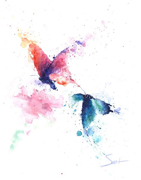 butterflies watercolor original painting abstract animal paintings