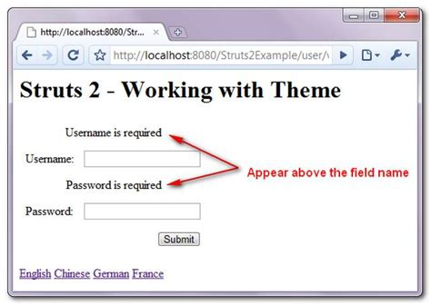 theme message exles working with struts 2 theme template mkyong com