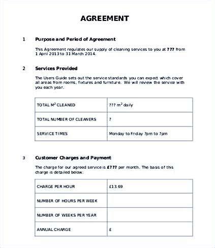 customer service level agreement template service level