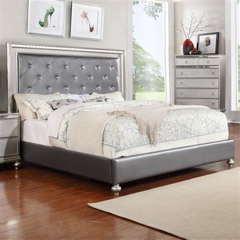 rhinestone bed frame glam queen upholstered panel bed with rhinestone accent