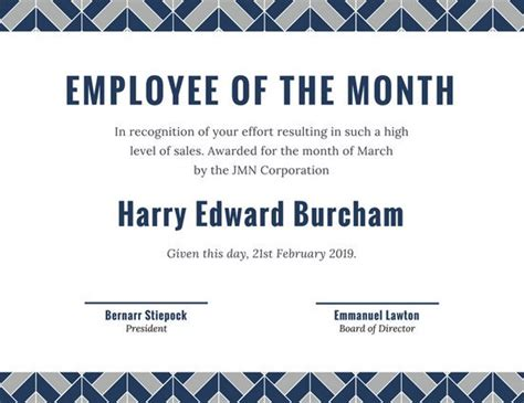employee of the month template certificate for employee of the month blue chain design