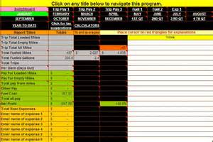 Owner Operator Spreadsheet Truck Driver Accounting Software Spreadsheet Program From