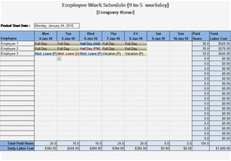 microsoft work schedule template 9 to 5 work schedule schedules templates