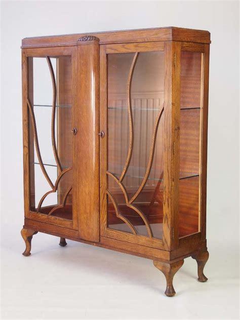 Vintage Deco Oak China Cabinet Bookcase