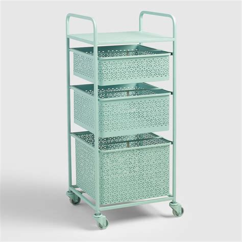 rolling bathroom storage cart aqua blue metal 3 drawer mia rolling cart world market