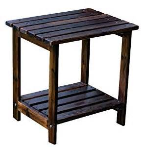 Small Patio Side Tables Shine Company Rectangular Patio Side Table Small Burnt Brown Rustic Side Table