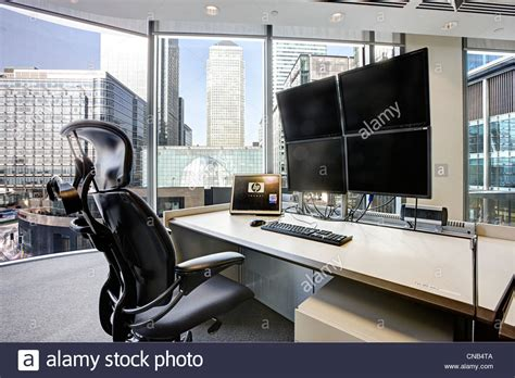 trade desk stock price trading desk canary wharf city london view stock photo