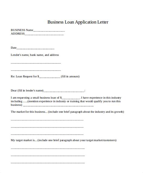 Business Loan Letter Format small business loan application template 43 application