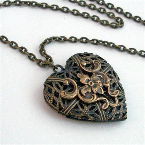 Handmade Locket - bronze filigree locket necklace handmade
