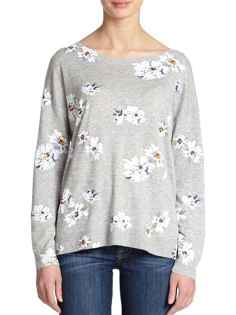 Sweater Grey Flower lyst joie eloisa floral print sweater in gray