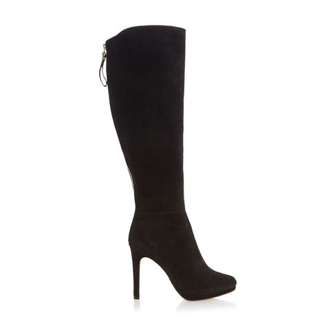 black knee high boots with heel dune skyler suede high heel knee high boots in black lyst
