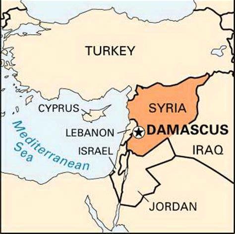 damascus on a map damascus encyclopedia children s homework help