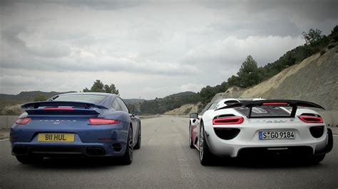porsche vs porsche 918 vs 911 turbo s drag race top gear