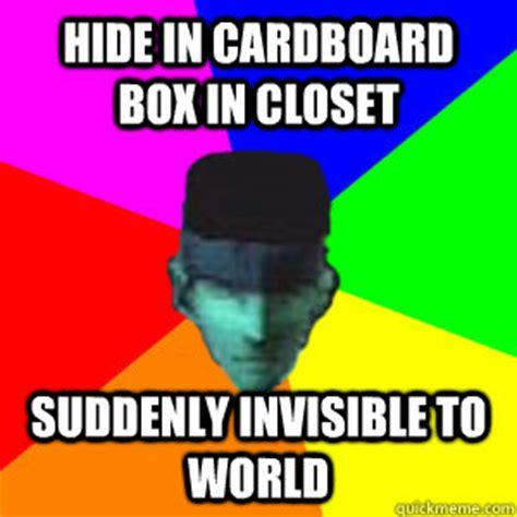 Cardboard Box Meme - hide in cardboard box in closet suddenly invisible to