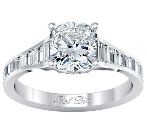 channel set baguette engagement ring setting