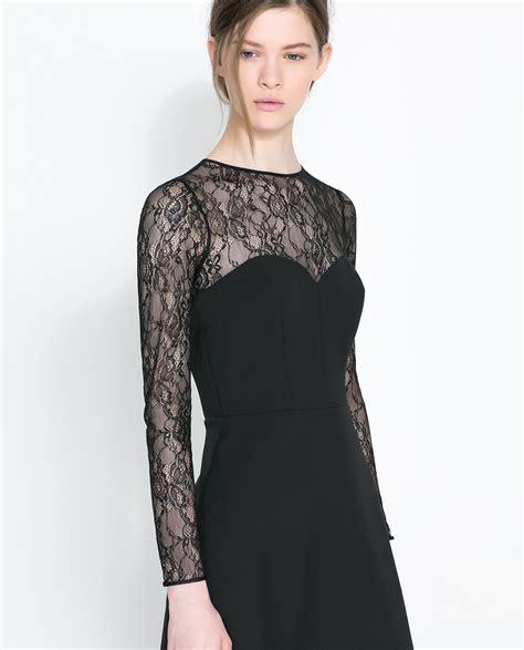Dress Zara Black Lace zara combined lace dress in black lyst