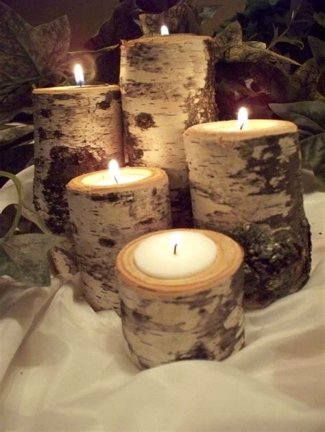 home decor birch wood candle holders wedding decor birch tea light candle holder set of five rustic natural