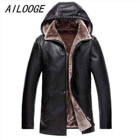 Leather Jaket Exclusive Leather Hoodie ailooge 2017 brown leather jacket mens hooded fur lining luxury fur clothing leather s