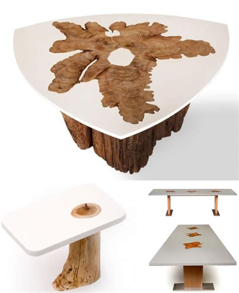 modern log furniture fuses sliced trunks organic resins