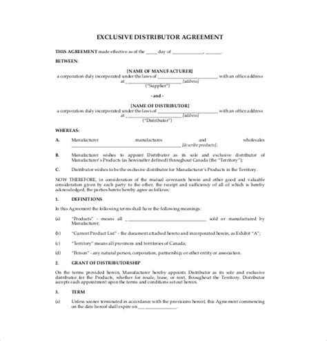 exclusive rights contract template 14 distribution agreement templates free sle
