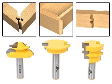 drawer lock joint bit joinery 3pc jointing router bit set lock miter glue