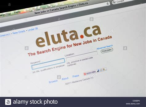 Search Engines For In Canada Eluta Website Search Engine For In Canada Stock Photo Royalty Free
