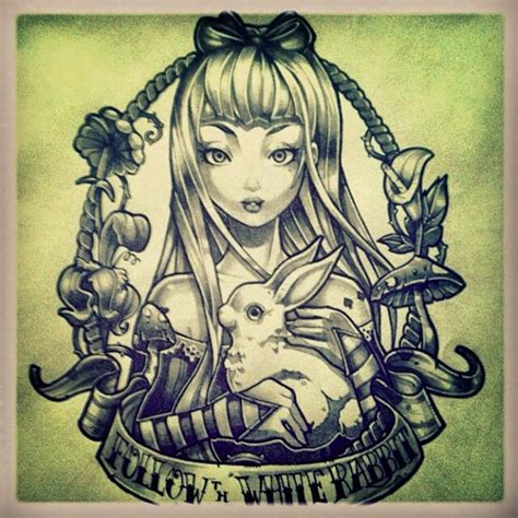 alice in wonderland tattoos designs tim shumate illustrations in sketch