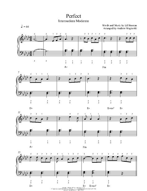 ed sheeran perfect piano notes perfect by ed sheeran piano sheet music intermediate