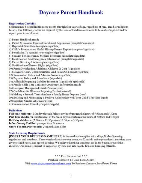 Daycare Enrollment Forms Child Care Registration Forms Templates Download Save Print Daycare Parent Handbook Template