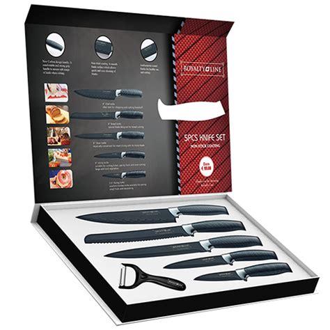royalty line 5pcs knife set non stick coating royaltyline
