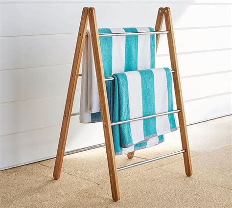 outdoor shower collapsible towel rack pottery barn