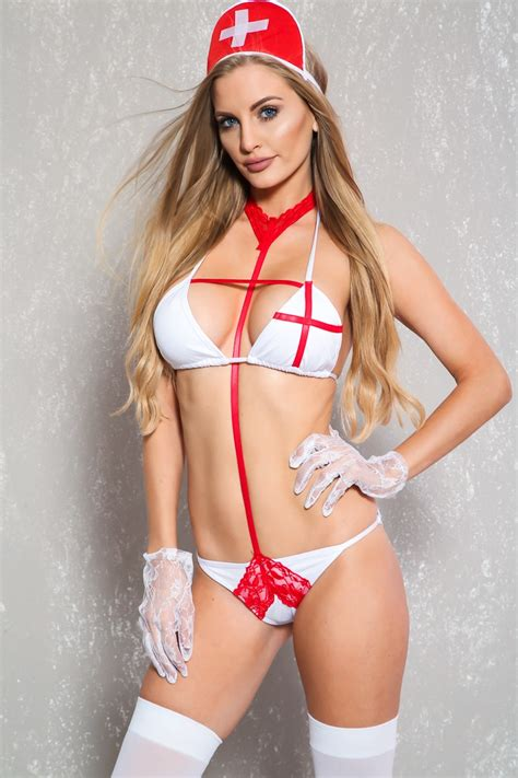 white red lace two piece nurse costume