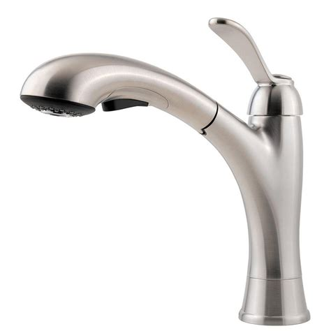 pfister prive single handle pull out sprayer kitchen faucet in stainless steel f 5347pvs the pfister clairmont single handle pull out sprayer kitchen