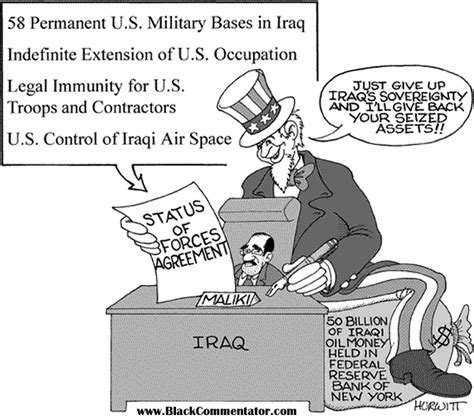 status of forces agreement sofa blackcommentator com political cartoon iraq status of
