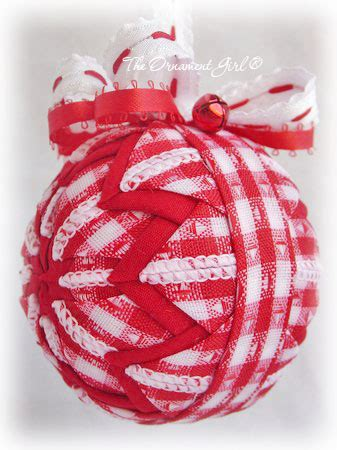 red  white plaid country christmas ornament quilted ball