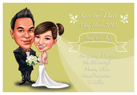 wedding invitation card caricature wedding invitations shake s caricature