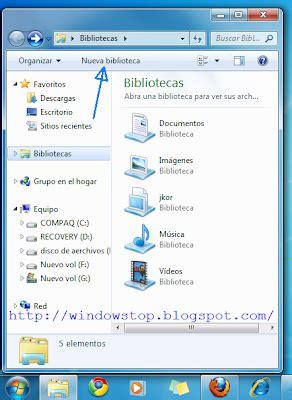 barra de herramientas superior windows 7 windowstop bibliotecas en windows 7
