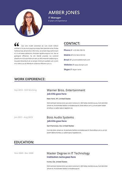 it professional resume sles free cv template free