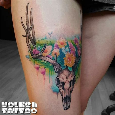 watercolor skull tattoo deer skull with watercolor flowers deer skull