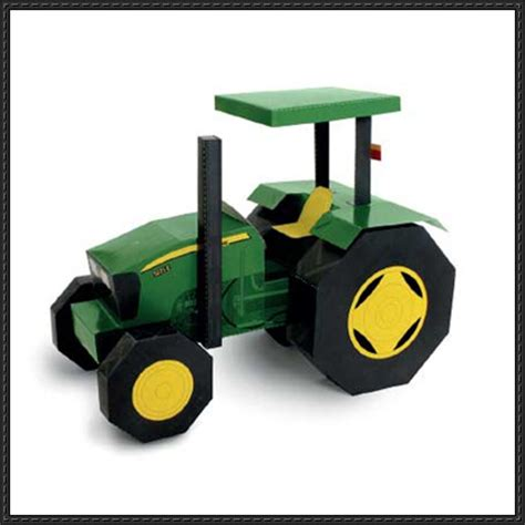Origami Tractor - papercraftsquare new paper craft deere tractor