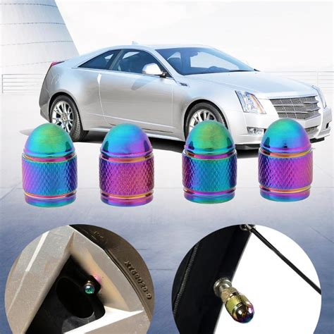 pcs rainbow color bullet shaped car wheel tyre valve stem cap dust cover auto aluminum alloy