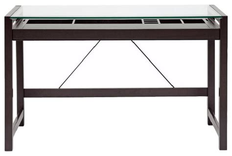 Baxton Studio Baxton Studio Idabel Dark Brown Wood Modern Idabel Brown Wood Modern Desk With Glass Top