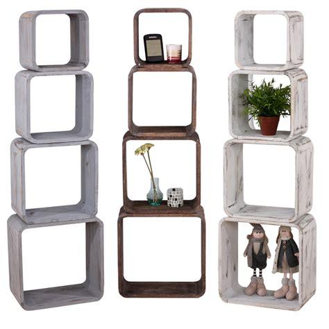 mensole quadrate serie vintage set 4x mensole quadrate scaffali t73 legno