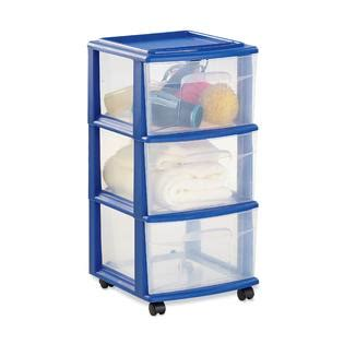 small plastic drawers kmart essential home 3 drawer cart blue clear