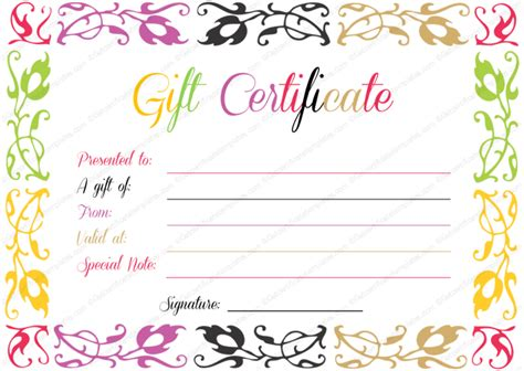 cute gift certificate template free business gift