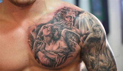christian chest tattoos an extraordinary looking chest shoulder arm