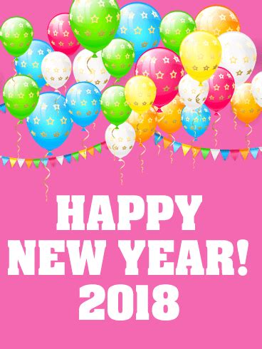 official new year 2018 greetings cheerful new year card 2018 birthday greeting cards by davia